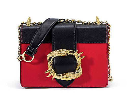 Xinmaoyuan Borse donna serpente metallico lato fibbia piccola piazza borsa tracolla diagonale pacchetto della catena di borsette in cuoio,verde Rosso