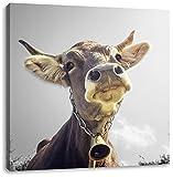 Lustiges Portrait einer Kuh B&W Detail, Format: 60x60 auf Leinwand, XXL riesige Bilder fertig gerahmt mit Keilrahmen, Kunstdruck auf Wandbild mit Rahmen, günstiger als Gemälde oder Ölbild, kein Poster oder Plakat