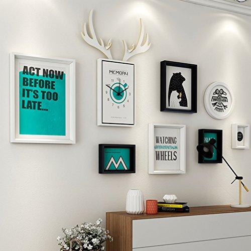 Dekorrahmen Wohnzimmer Massivholz Bilderrahmen Wand Sets Von 7, hängen Bilderrahmen Wand Wohnzimmer Schlafzimmer Kombination Bilderrahmen Wand Sofa Hintergrund Bilderrahmen Wand ( Farbe : B , größe : 7frames/156*87CM )