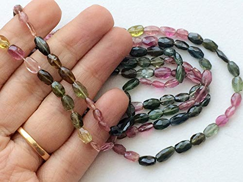 4x6mm Oval Bead (14 inch strand natural multi tourmaline 4x6 mm oval faceted beads for jewelry - multi tourmaline faceted oval beads, aaa multi tourmaline, tourmaline necklace, 4x6mm approx, 14 inch strand)