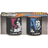 Das Star Wars Tassen - Set trägt die Abbildungen zweier Guerre stellari Figuren.