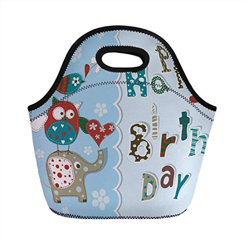 Portable Bento Lunch Bag,Birthday Decorations for Kids,Patchwork Inspired Owl Birds Elephant Flowers,Sky Blue and Light Blue,for Kids Adult Thermal Insulated Tote Bags -