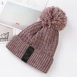 MEI Outdoor Hut Skibrille Winter Plus Samt Stricken Hut Einfache Twist Fell Ball Wollmütze Im Freien Warme Hut 22in-22 8 Zoll,Redbeanpaste