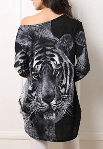 Smile YKK Long Sleeve Damen Rundhals Tiger Strickmuster Minikleid Sommer Tunika Oberteil Shirt Grau