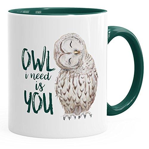 MoonWorks Kaffee-Tasse Eule Owl I Need is You Liebe Spruch Geschenk Valentinstag Weihnachten Ehe Partnerschaft grün Unisize