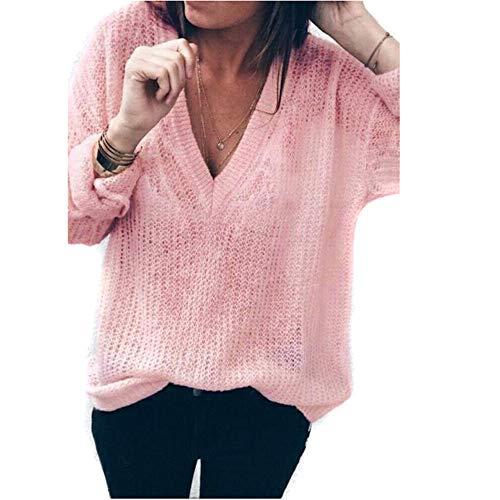 TianWlio Damen Langarmshirt Bluse T-Shirt Tops Mode Frauen Solide Langarm V-Ausschnitt Tops Lose Pullover Bluse