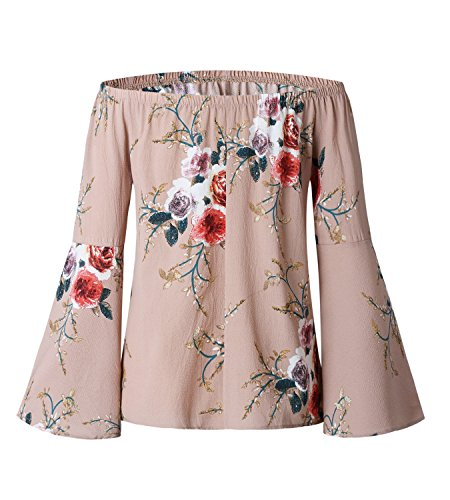 365-Shopping Damen von der Schulter Blusen Sommer Langarm Lose Chiffon Blusen T-Shirt Tops Rosa