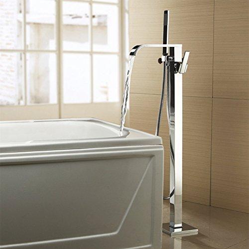 Chrom-Finish Freistehend Badewanne Filler bodenstehend Badewanne Wasserhahn Wasserfall breitgefächert Handbrause sowie einen enthalten (Retro-chrom-finish)