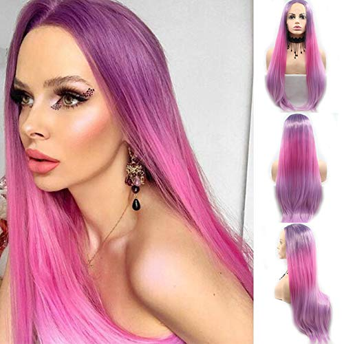RAINBOW Snow Perücke, lang, glattes Synthetik-Frontband, lila, Hot Pink, realistische Ombré-Haarperücke mit Babyhaarperücke, mit Mittelteil, 2 Farbtönen