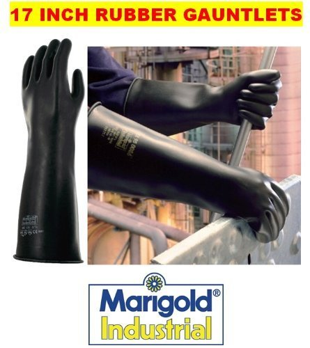 MARIGOLD EMPEROR ME105 - 17 INCH INDUSTRIAL RUBBER GLOVES GAUNTLETS - 9.5 / L by Marigold Industrial