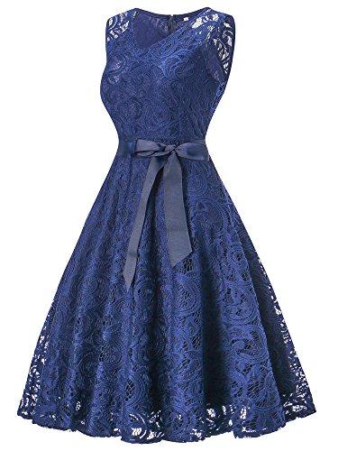 HENCY Damen Spitzen Kleid Festlich Partykleid Cocktailkleid Brautjungfern Kleid V Ausschnitt Ärmellos Dunkelblau