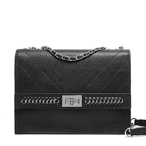QCYISI Umhängetasche aus echtem Leder für Damen, klassischer Kettenschulterriemen, glänzende Verzierung mit Drehverschluss, schlanke, minimalistische, kleine, quadratische Tasche,Black - Crocodile Hobo