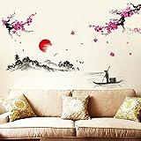 Weaeo Sonnenuntergang Weit Berg Wand Aufkleber Dekoration Selbstklebende Tapete Aufkleber Wohnzimmer Schlafzimmer Chinesischen Alten Stil Tinte Malerei Pflaume