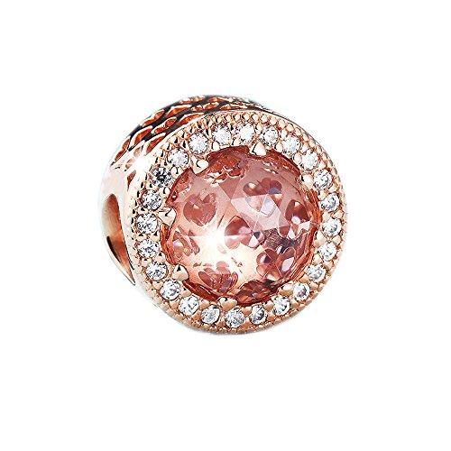 Chicbuy, ciondoli/charm, cuori autunnali, perle in zirconia cubica, gioielli adatti per braccialetti pandora originali, in argento 925, colore rosa