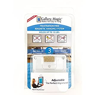Gallery Magic Adjustable Magnetic Picture Hanging Hardware Kit - Frustration Free Picture Hangers - No Hooks, Wires, Measuring or Multiple Holes - Up to 15lbs.