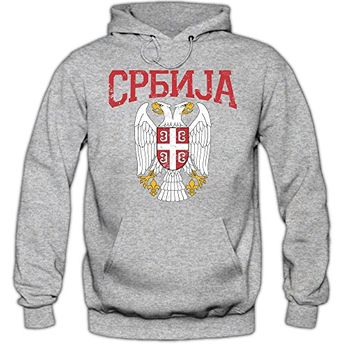 Shirt Happenz Serbien Wappen Premiumhoodie | Serbien | Republik Serbien | Belgrad | Herren-Kapuzenpullover Graumeliert