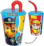 alles-meine.de GmbH Trinkbecher / Trinkflasche - mit Strohhalm & Deckel -  Paw Patrol - Hunde  - incl. Name - 420 ml - durchsichtig & transparent - für Kinder - Trinkhalm - Kun..