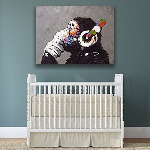 Banksy Affe Mit Kopfhörer Wandkunst Leinwand-druck / Buntes Schimpanse Gelistet Musik Ohrhörer Drucken / Street Art Graffiti Bedruckbare - 130x97 cm