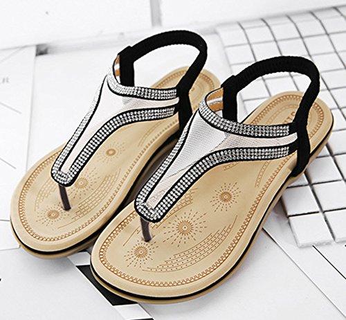 Aisun Femme Confortable Mesh Paillettes Flops Sandales Noir