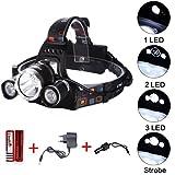 Aigi, LED-Stirnlampe, 3 CREE XM-L T6, helle Hochleistungs-Scheinwerfer, 6000 Lumen, wiederaufladbar, wasserdicht, (2 x 18650 Battery + 1 x AC Ladegerät); Outdoor-Stirnlampe für Camping Wandern Jagd Radfahren Laufen -