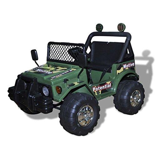 SENLUOWX Kinderauto Elektroauto Kinderfahrzeug Auto 2-Sitzer Armeegrün Geschwindigkeit: 3 – 5 km/h