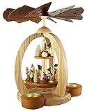 Pyramide Winterkinder natur doppelstöckig mit Teelicht und Kerze 28cm NEU Tischpyramide Erzgebirge Holz