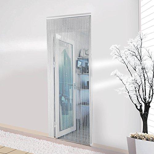 Aonepro, zanzariera tenda con catena in alluminio argentata per porta, tende a fettuccia per schermare porte, mantenere all'esterno mosche, vespe, cimici e api, 90 cm x 210 cm