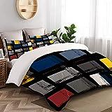 VORMOR Bettwäsche-Set 3 Teile,abstraktes buntes städtisches geometrisches nahtloses Muster,weich und angenehm (200x200cm) Bettbezug mit 80x80cm Kissenbezug