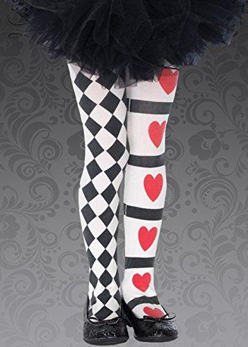 Kinder Alice im Wunderland Stil Königin der Herzen Strumpfhosen Large (7-10 - Königin Der Herzen Kostüm Muster