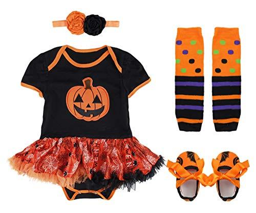 Mombebe Baby Mädchen Kürbis Halloween Body Kostüm mit Schuhe (12-18 Monate, Kürbis)