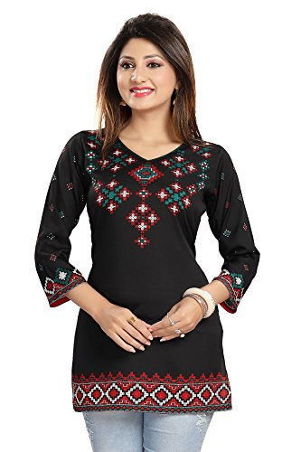 Color Petal Floral Design Printed Short Crepe Kurti / Tunic / Top...