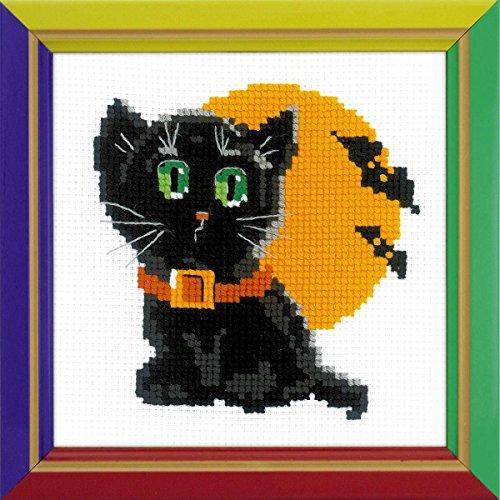 Riolis Kreuzstich-Set Schwarze Katze, Baumwolle, Mehrfarbig, 15 x 15 x 0.1 cm