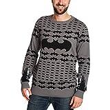 Elbenwald Batman Strick Pullover Batman Logo DC Comics grau schwarz - L