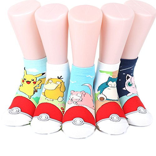 Pokemon-Womens-Ankle-Socks-Monster-Ball-5-pairs5-color-1-pack-Made-in-Korea