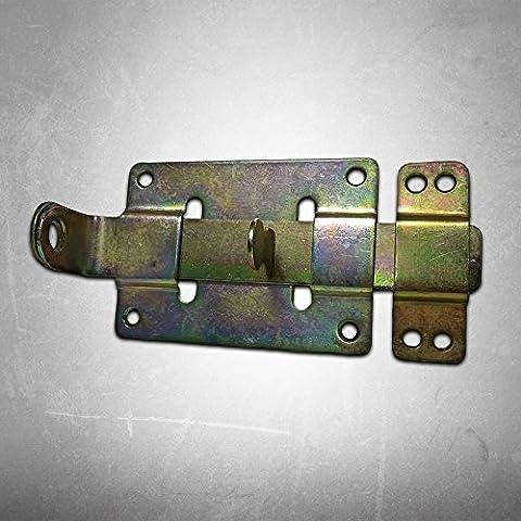 Verrou à pêne avec poignée plate, droit avec gâche fixée, 160x 70mm, galvanisé Jaune