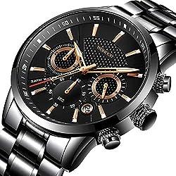 WISHDOIT Hombre Casual Deportes Reloj de Cronógrafo de Cuarzo Analógico Impermeable con Moda Negro Pulseras de Acero iInoxidable 9866B