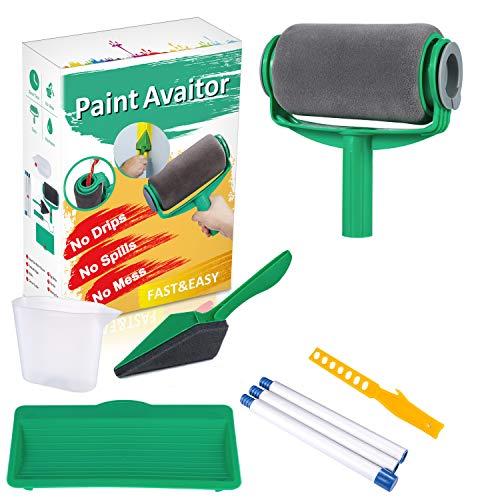 Yukaki® paint aviator set di rullo per pittura verniciare rapidamente, per casa e giardino, pennello a rulli da pittura multifunzione professionale