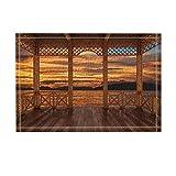 Rrfwq Tropical Seaside Decor 3D Visualisierung von Holzterrasse Blick Sunset Bad Teppiche für Badezimmer Rutschfeste Bodeneingänge Outdoor Indoor Haustür Matte Kids Badematte 60X40CM