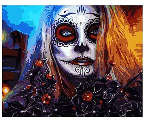 HNZZLC Ölgemälde Leinwand Digital DIY Färbung Dekoration Charakter Landschaft Unterhaltung Erwachsene Acrylmalerei Clown Gesicht,Holzrahmen (Weiße Clown-gesicht Malen)