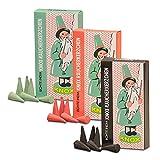 3er Pack Knox Räucherkerzen Ostalgie Design Tanne, Weihrauch-Myrrhe, Weihrauch-Sandel, 3 x 24 Stück, Weihnachtskerze, Räucherkegel, Räucherpyramide
