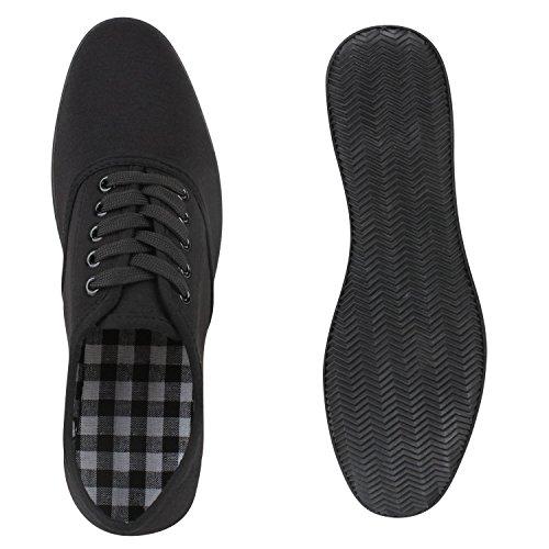 Sportliche Damen Herren Sneakers   Unisex Basic Freizeit Schuhe   Schnürer Stoffschuhe   Prints viele Farben Schwarz Bernice