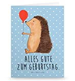 Mr. & Mrs. Panda Grußkarte Igel mit Luftballon - Igel, Geburtstag, Herzlichen Glückwunsch, Glückwunsch, Geburtstagskind, Ballon, Happy Birthday Grusskarte, Klappkarte, Einladungskarte, Glückwunschkarte, Hochzeitskarte, Geburtstagskarte