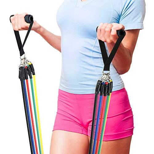 Sueh design bande di resistenza, 5 bande elastiche in lattice con maniglie, gancio per fissaggio alla porta & cinghie puntapiedi e borsa, per attrezzi da fitness, yoga, pilates