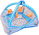 #7: Deals Outlet Baby Kick and Play Gym with Mosquito Net and Baby Bedding Set (Blue)