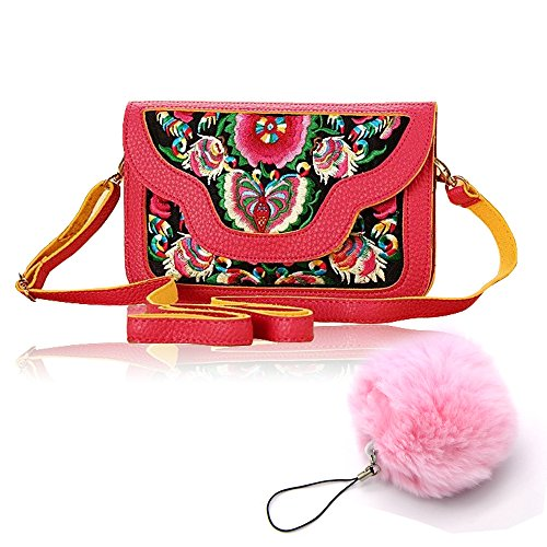 Aztec Stickerei Tasche Beutel Vandot PU Leder Embroidery Aztek Nation Retro Shopper Umhängetasche Shoulder Bag Schultertasche Handmade Malerei Schmetterling Blumen Mädchen Damen Handtasche Brieftasche Geldbörse Wallet Portemonnaie Kosmetiktasche Hipster Rucksack Touch Screen für Smart Phone Make Up Kreditkarte Reise Sport Freizei + Pom Pom Ball - Vertikale Rot (Wallet Zipper Vertikale)