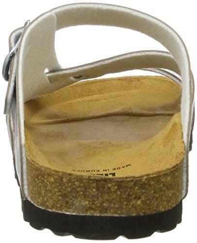 Lico Damen Bioline Flora Flache Hausschuhe Silber (TAUPE/ROSA)