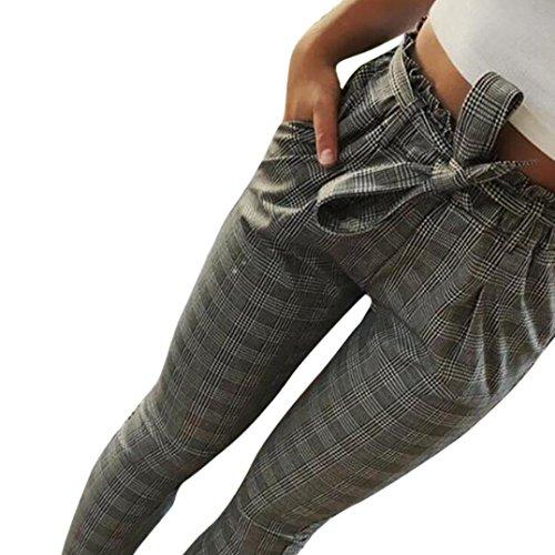 Pantalones de harén de cintura alta para mujeres Pantalones de cintura para mujer Bowtie elásticos mujer pantalon corto★Longra
