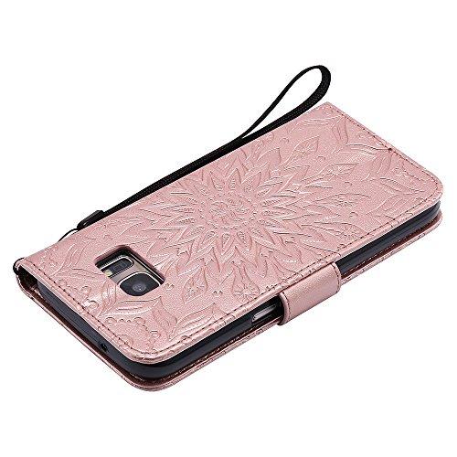 Für Samsung Galaxy S7 Fall, Prägen Sonnenblume Magnetische Muster Premium Soft PU Leder Brieftasche Stand Case Cover mit Lanyard & Halter & Card Slots ( Color : Purple ) Rose Gold