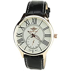 Men's Watch MICHAEL JOHN SILVER GOLD ROSE Quartz Steel Case Analogue Display Band FAUX LEATHER BLACK