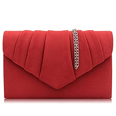 Milisente Women Clutch Bag Suede Pleated Envelope Bag Stylish Evening Bag